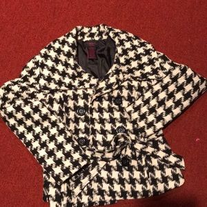Houndstooth Black and white pea coat
